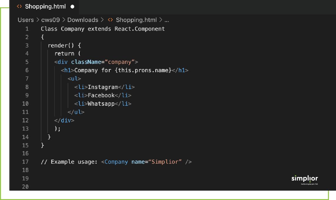 React JS Components Subclasses - Simplior Technologies